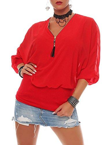 Malito Damen Bluse im Fledermaus Look | Tunika mit Zipper | Kurzarm Blusenshirt mit breitem Bund | Elegant - Shirt 6297 (rot)
