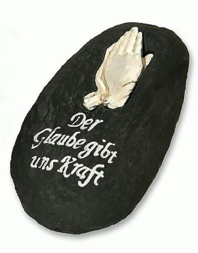 18,5cm Grab Deko Stein Betende Hände Grabschmuck Grabstein aus Steinharz