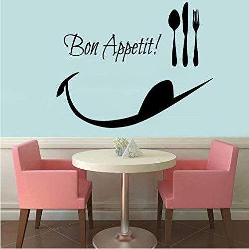 Guten Appetit Löffel Folk Wandtattoos Dekor Abnehmbare Vinyl Wandaufkleber Wasserdichte Küche Dekoration 43 Cm X 34 Cm -