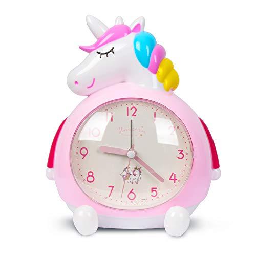 Minvo - Despertador infantil con diseño de unicornio y música intensa para despertar, ideal como regalo para fiestas de niños, decoración de dormitorios