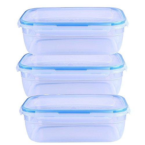 teerfu Frischhaltedosen mit Deckel, luftdicht, auslaufsicher easy snap Lock und BPA-frei klar Kunststoff Container Set für Küche 3Pack-1800ml durchsichtig