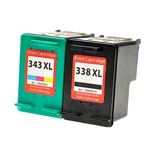 2 Logic-Seek Tintenpatronen kompatibel zu HP 338+343 C8765EE C8766EE - Schwarz 20 ml + Color 14ml -