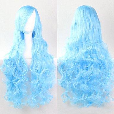 HJL-ciel bleu cosplay mode must-have fille de haute qualit¨¦ perruque de longs cheveux boucl¨¦s , blue