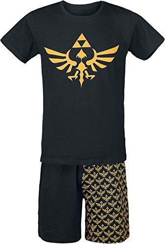 Zelda – Pigiama da uomo con pantaloni corti e logo, in cotone – Licenza Nintendo – Nero