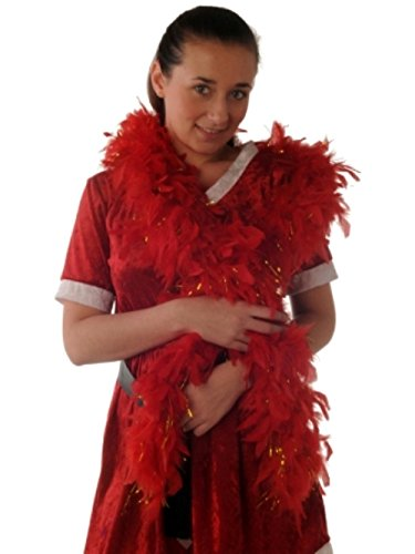 Boas Feather Red Gold Tinsel 1.8m (Feather Boa Red)