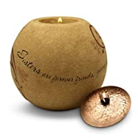 Pavilion Gift Company Comfort Candles 4-1/2-Inch Round Candle Holder, Sisters are Forever Friends