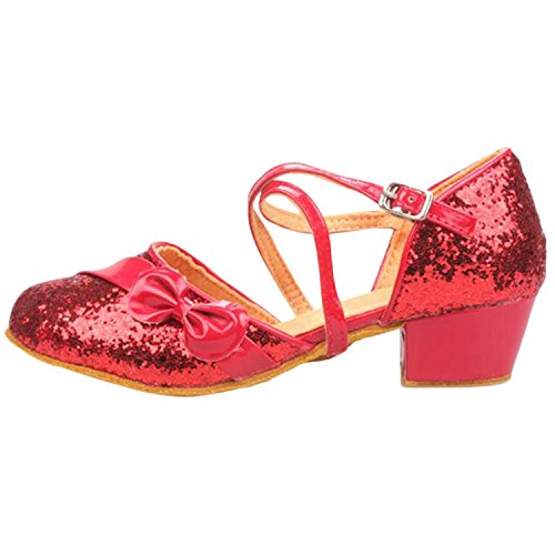 Oasap Girl's Round Toe Boe Sequins Cross Strap Latin Dance Shoes Red