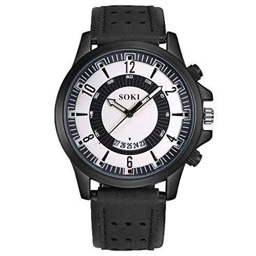 XZDCDJ Männer Uhren Armbanduhren für Herren Markenuhren Angebote Mode Big Dial Kalender Scrub Belt Herrenuhr Schwarz -