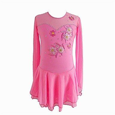 LVRXJP Eiskunstlaufkleid Damen Mädchen Eislaufen Kleider Rosa Eiskunstlaufkleidung Pailletten Langarm Eiskundstlauf, 155