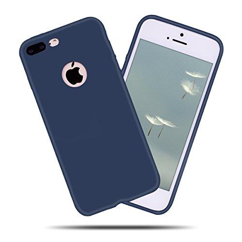 iPhone 7 Plus (5.5 Zoll) Hülle , Kcdream Soft Handy Cover Ultra Slim Silikon Rückseite Schutzhülle Etui Handy-Tasche Back-Cover Bumper TPU Gummihülle stoßfeste Schutz-Cover Tasche mimt einzigartiges E Blu