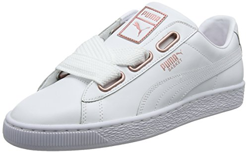 Puma Basket Heart Leather, Sneakers Basses Femme, Blanc White-Rose Gold, 40.5 EU