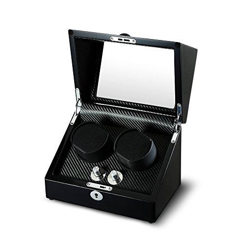 aublan Holz Doppel Automatische Uhrenbeweger Aufbewahrungsboxen für 2Uhren mit LED-Licht -