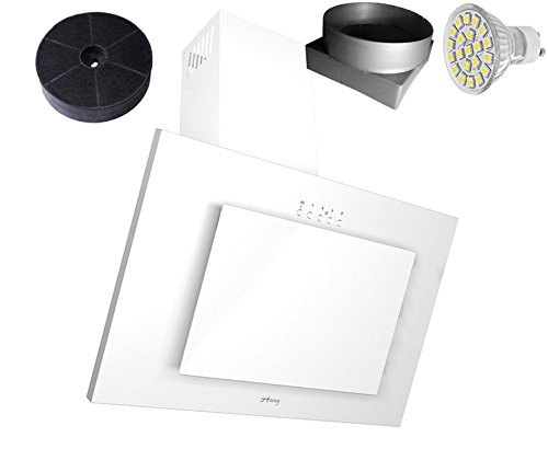 HAAG Vertikal Weiß + Glas + LED, Kohlefilter GRATIS! BREITE 60 cm Dunstabzugshaube, Kopffrei, Wandhaube
