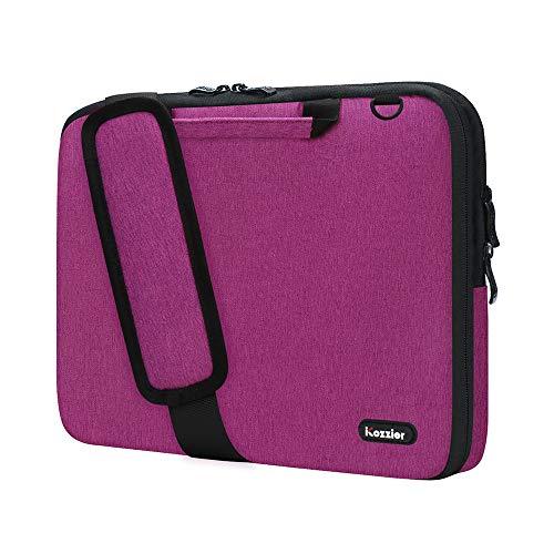 iCozzier 11-11.6 Zoll Griff Laptop Aktentasche Umhängetasche Elektronisches Zubehör Organizer Messenger Tragetasche mit Schulter- und Gepäckriemen - Rose