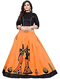 e872d09bee3 Store Hub Fashion Women s Banglori Satin Digital Printed Semi-Stitched  Lehenga Choli (Orange