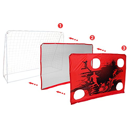 Charles Bentley 3-In-1 Target Shoot 7Ft X 5Ft Sturdy Steel Frame Football Goal   Net Portable