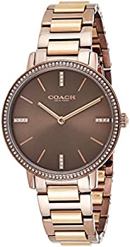 Coach Women's Coffee Dial Ionic Plated Brown 5 Steel & Ionic Plated Rose Gold Steel Watch -