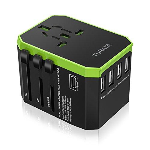 Adaptador de viaje universal Enchufe USB, 5 puertos Cargador todo en una pared con 3.0A Tipo C y 5.6A 4 Puertos inteligentes USB, Enchufes de CA / EE.UU / Reino Unido / AU / UE / Asia Para el teléfono celular, computadora portátil, Secador de pelo de Turata (Negro + Verde)