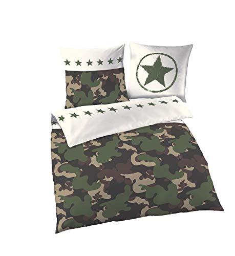 Camouflage Bettwäsche · Sterne & Camo · Militär Army Dessin · Kissen mit Wende Motiv · 2 Teilig Kissenbezug 80x80 + Bettbezug 135x200 cm · 100% Baumwolle -