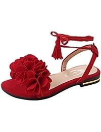 ALIKEEY Correa de Moda de Verano Flores Planas con Sandalias de Punta Abierta