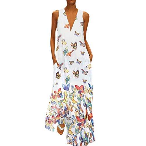 Kostüm Jäger Muster - MAYOGO Kleid Damen Sommer Lang Elegant Schick Große Größen Ärmellose Maxikleid Schmetterling Muster Casual Cool Leichte Kleider mit Tasche S-5XL