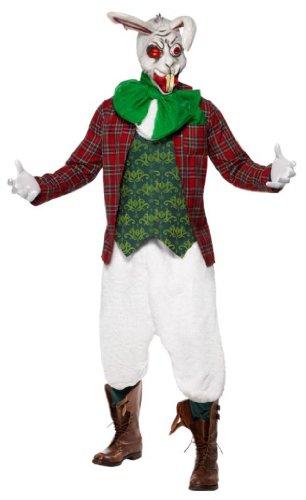 Smiffys 23019M - Rabid Hasenkostüm Jacket Top Cravat und Fliege Hosen und Maske, grün