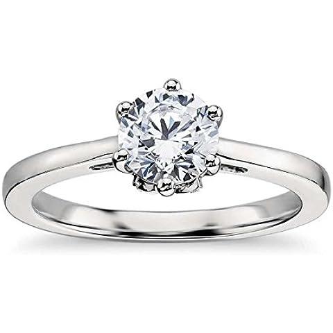 Lilu Jewels 1ct. T.W. Moissanite fidanzamento solitario anello in platino placcato