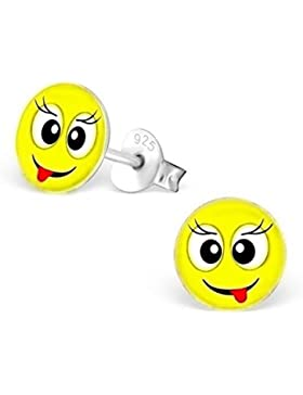 GH1a Smiley Ohrstecker 925 Echt Silber Ohrringe Mädchen Kinder Geschenkidee