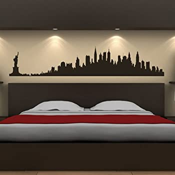New York Skyline Wall Stickers Landmarks Wall Decal Art Available In 5  Sizes And 25 Colours Large Black Part 71
