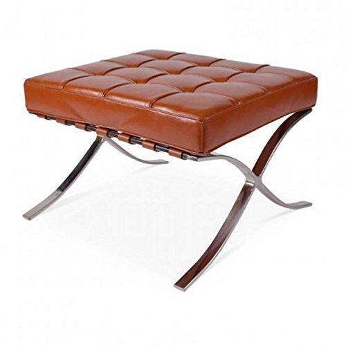 Barcelona Ottoman–Top Grain Leder inspiriert von Mies van der Rohe Bauhaus cognac (Möbel Ottoman Chair)