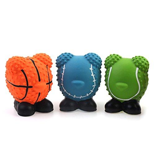 chiwava 3 piezas 2,4 ' látex Juguetes para perros pequeños de látex con sonido Squeaky forma de pelotas de deporte cachorro Juguetes interactivos, Color aleatorio