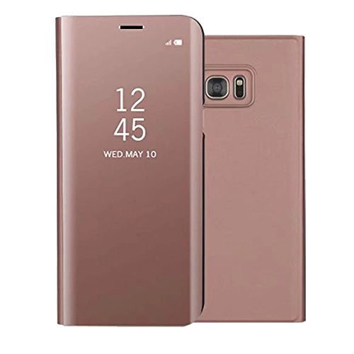 Sycode Luxe Screen Protector Rose Or Slim Fit Miroir Transparente Standing View Portefeuille Housse Couverture pour Samsung Galaxy S7-Rose Or Miroir