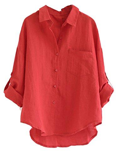 MatchLife Damen Leinen Blusen Elegant Langarm Freizeit Oberteil Lose Langarmshirt V-Ausschnitt Tunika Sommer T-Shirt Top Rot 2XL - Rote Damen Henley T-shirt