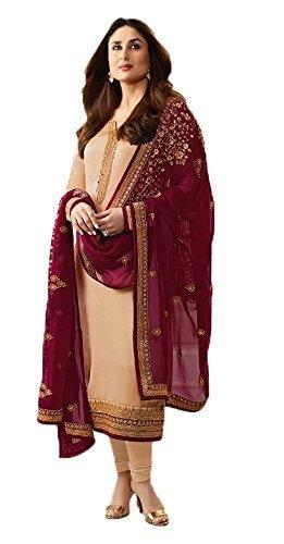 Vishal Samart Mall Women's Georgette Semi Stitched Anarkali Salwar Suit (1601_Cream_Free Size)