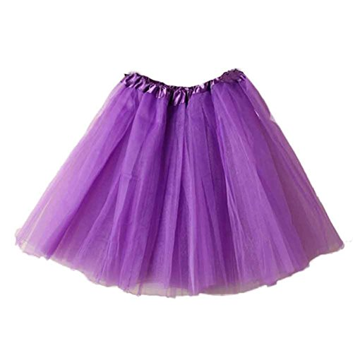 Frauen Mädchen Vintage Petticoat Ballett Röcke Tutu Reifrock Unterrock, [Erwachsene Classic Elastic], violett, M (Velvet Pleated Kleid)