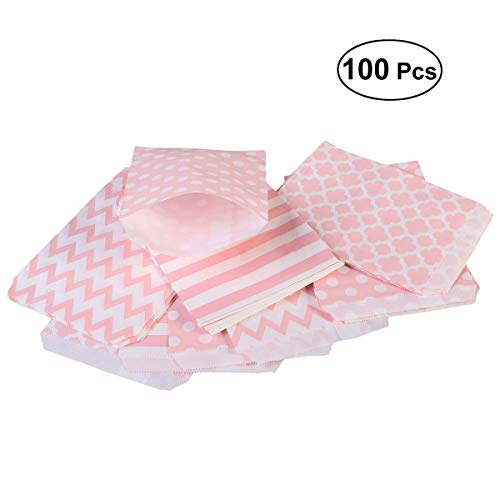 BESTOYARD 100pcs Diversi Pattern Birthday Wedding Candy Bar Bags Party Sacchetti Regalo Sacchetto di Carta (Rosa)