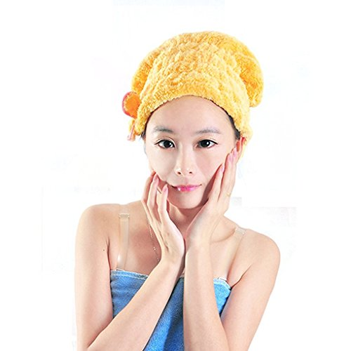 Haar trocknen Handtuch, Frauen Lady Mädchen Langes Haar Magic Trocknen Handtuch Hat Gap Quick Dry Turban für Hair Wrap Trocknen. Bad Dusche Kopf Handtuch Pool Pink Yesllow (Baby Gap Leinen)