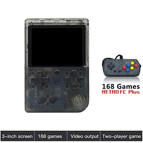 SDGDFXCHN Retro FC Handheld-Spielekonsole 168 Klassische Spiele, 3-Zoll-Bildschirm-Unterstützung TV-Videospiel-Player Tick & 1 Controller, Geburtstagsgeschenke für Kinder bis Erwachsene (Spielen 3 Controller)