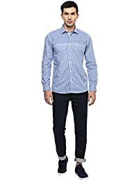 Turtle Men's Slim Fit Formal Shirt With Blue Engineered Checks