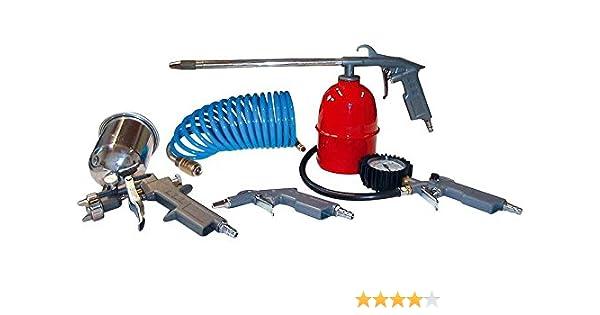 Druckluft Werkzeugset 4 teilig Ausblaspistole Reifenfüller Spiralschlauch