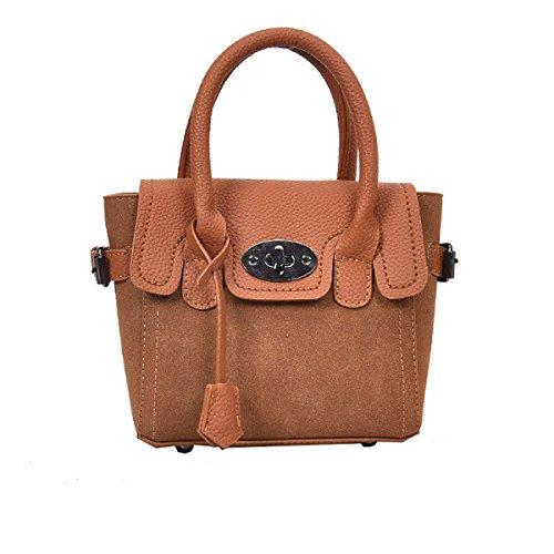 Klassische Matte Lippenstift (DHFUD Frauen PU Matte Tasche Schalen Tasche Umhängetasche Handtasche Crossbody Schloss Schnalle Einfache,Brown-OneSize)