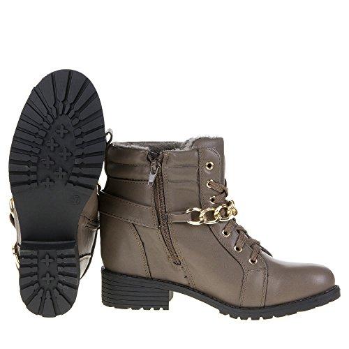 Damen Schuhe, YMS-10, STIEFELETTEN Grau Braun YMS-10