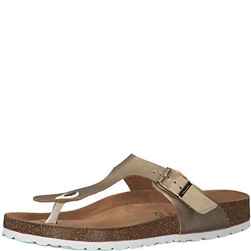 Sommer Gold Schuhe (Tamaris 1-1-27531-22 Damen FlipflopsLeder,Sandale,hochwertig,bequem,leicht,Sommer,Strand Schuhe,Gold,38 EU)