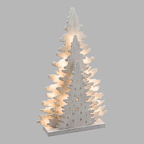 Xmasking albero triplo in legno h 35 cm, 20 led bianco caldo, batteria
