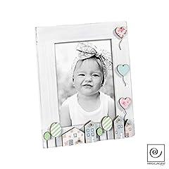 Idea Regalo - Mascagni Portafoto in legno Bambina Bambino Palloncini Citta Colorato Bianco 13x18
