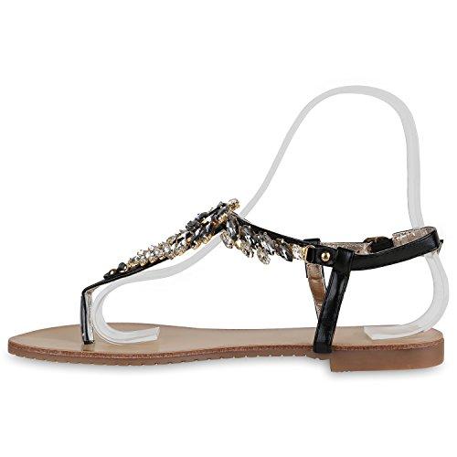Damen Zehentrenner Metallic Sandalen Lederoptik Schuhe Flats Dianetten Ethno Party Schuhe Abiball Schwarz Schnalle