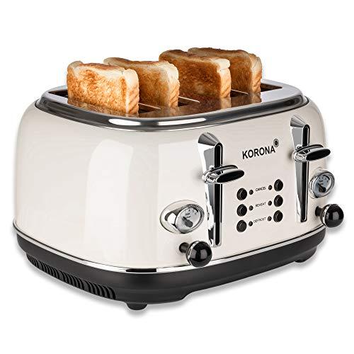 Korona 21676 Toaster, 4 Scheiben, Creme, Röstgrad-Anzeige, auftauen, rösten, aufwärmen, 1630 Watt, Brötchen-Aufsatz, Krümel-Schublade, Brotscheiben-Zentrierung