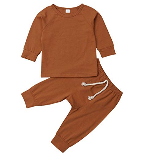 Tyoby Baby Langarm Top + Strumpfhose Leggings Set Bequemer Schlafanzug Homewear Lässige Outfits Sets Erstausstattung (Blau,70)