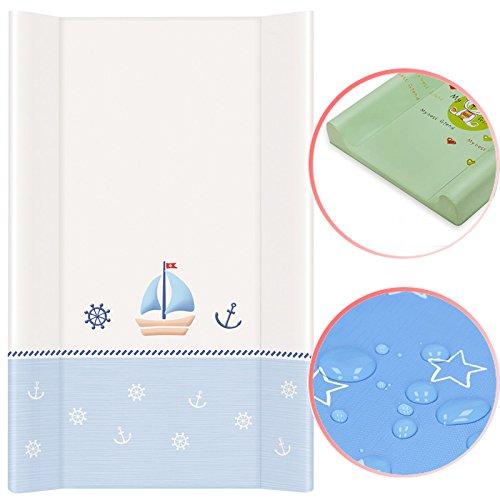 Wickelauflage mit fester Unterlage 50x80cm Marine weiß-blau Bettauflage Baby Pflege Auflage Wickeln