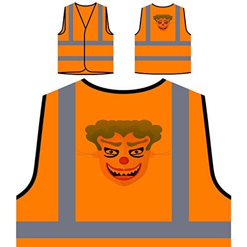 Happy Halloween Clown LUSTIGE NEUHEIT Personalisierte High Visibility Orange Sicherheitsjacke Weste k3vo (Happy Halloween Clowns)